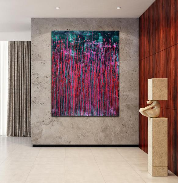 Pink Synergy (Fantasy Garden) - Metallic Abstract Painting (2020) by Nestor Toro