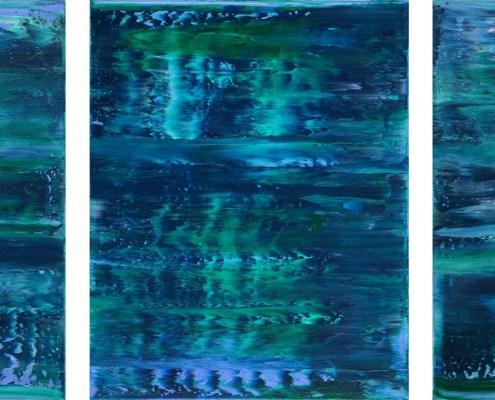 SOLD - Stormy Azure Night - Triptych (2020) by Nestor Toro in Los Angeles