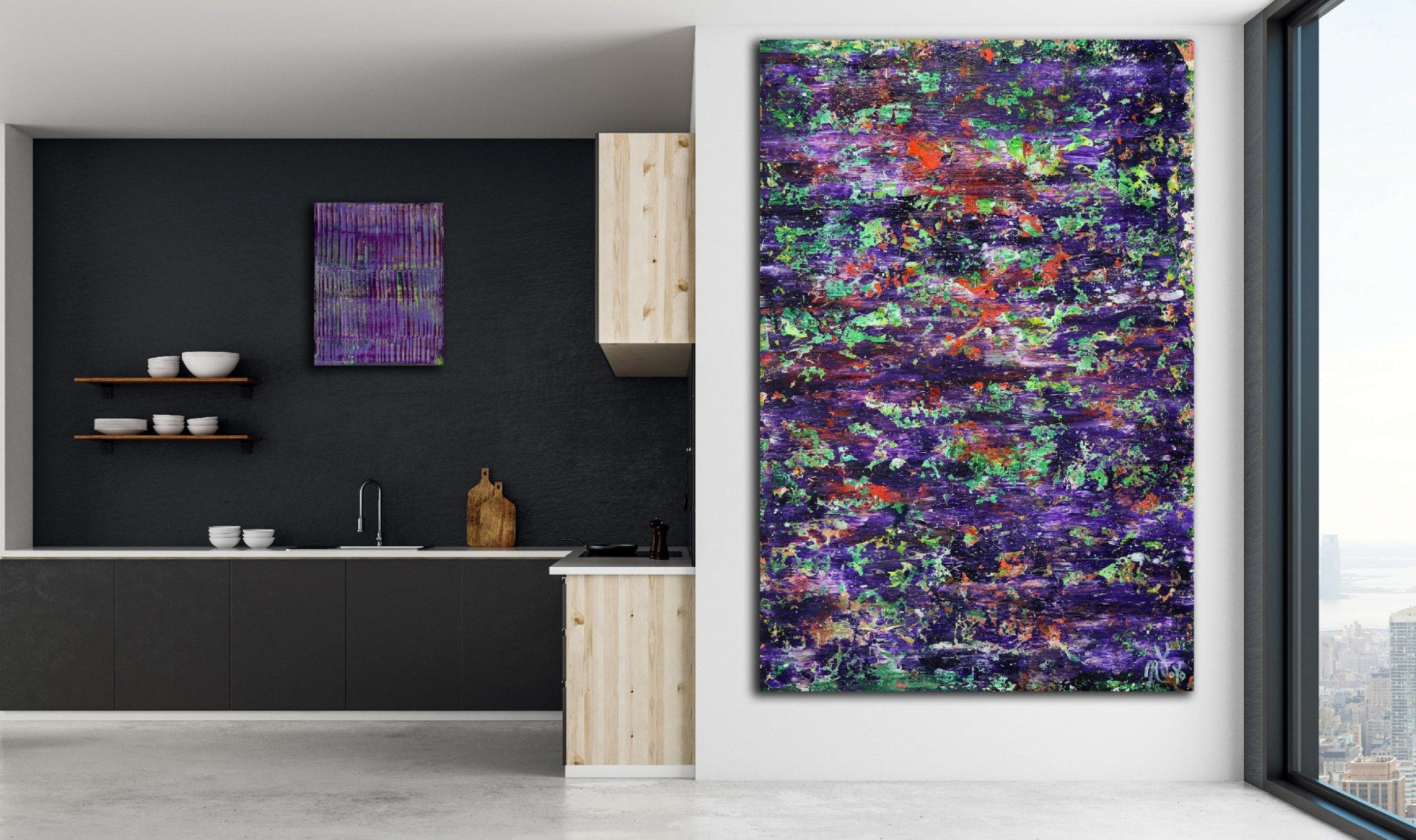 Room view - Mystery Garden ( In scarlet, purple and green) (2020) Abstract painting by Nestor Toro