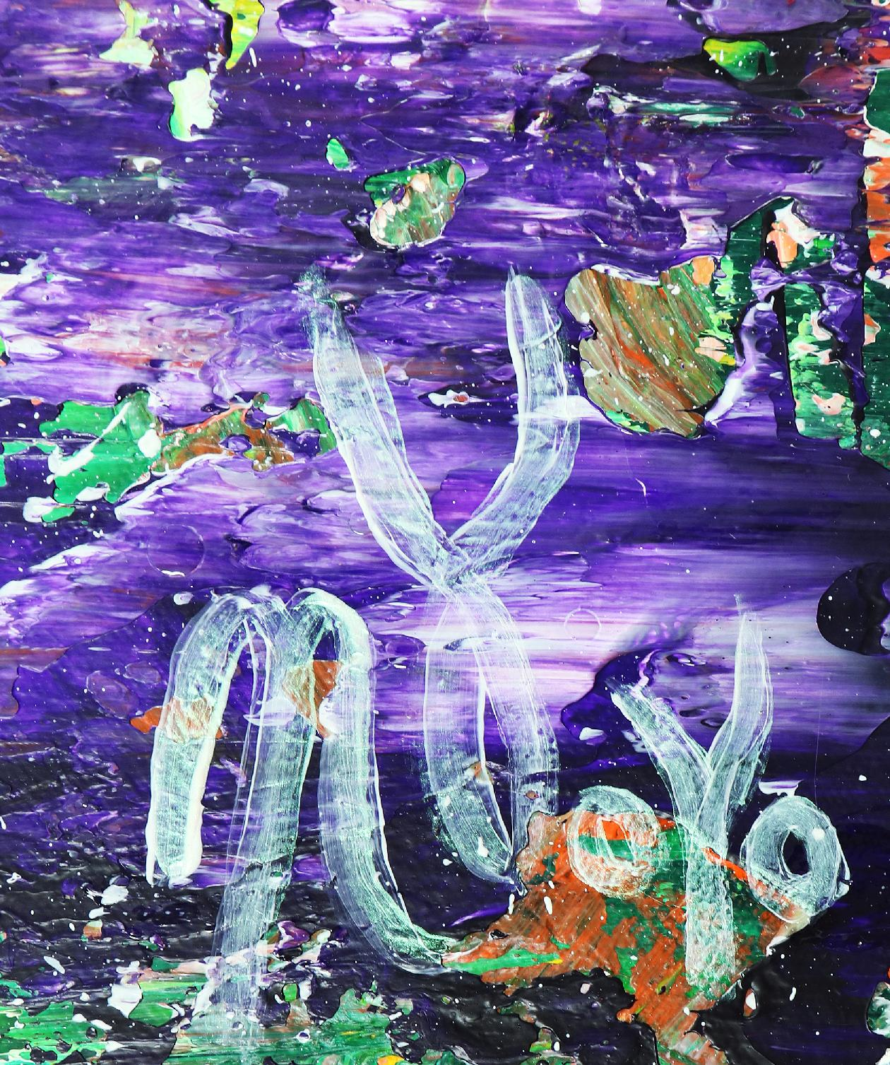 Signature - Mystery Garden ( In scarlet, purple and green) (2020) Abstract painting by Nestor Toro