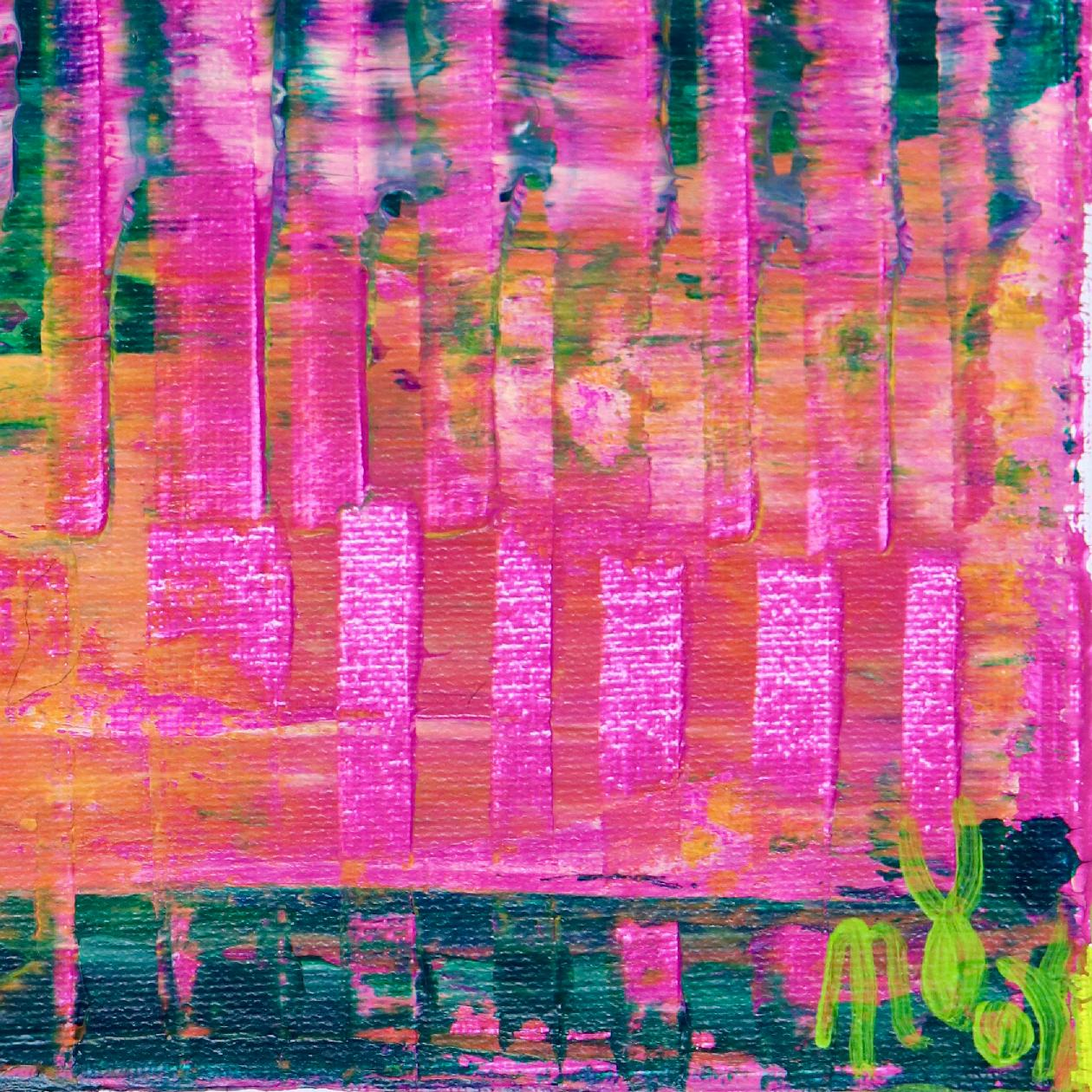 Signature Detail - Pink Refractions (Green Textures) 2 (2020) by Nestor Toro
