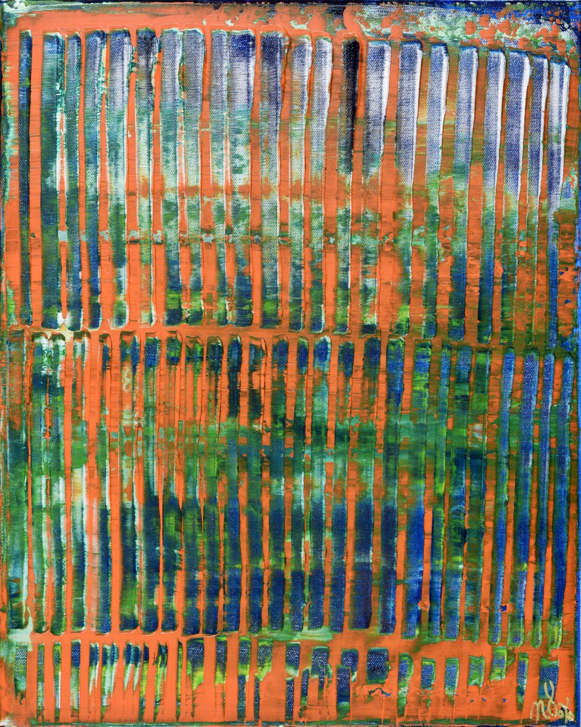 Full Canvas - Orange Panorama (Blue Reflections) (2020) by Nestor Toro