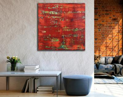 Room View - Rojo infinito (Fiery abstract) 6 (2020) by Nestor Toro