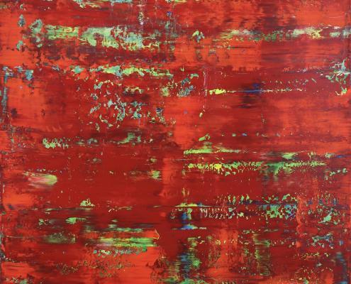SOLD - Rojo Infinito (Fiery Abstract) 6 (2020) by Nestor Toro