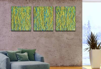 Room View - Close and Afar - Triptych (2020) by Nestor Toro