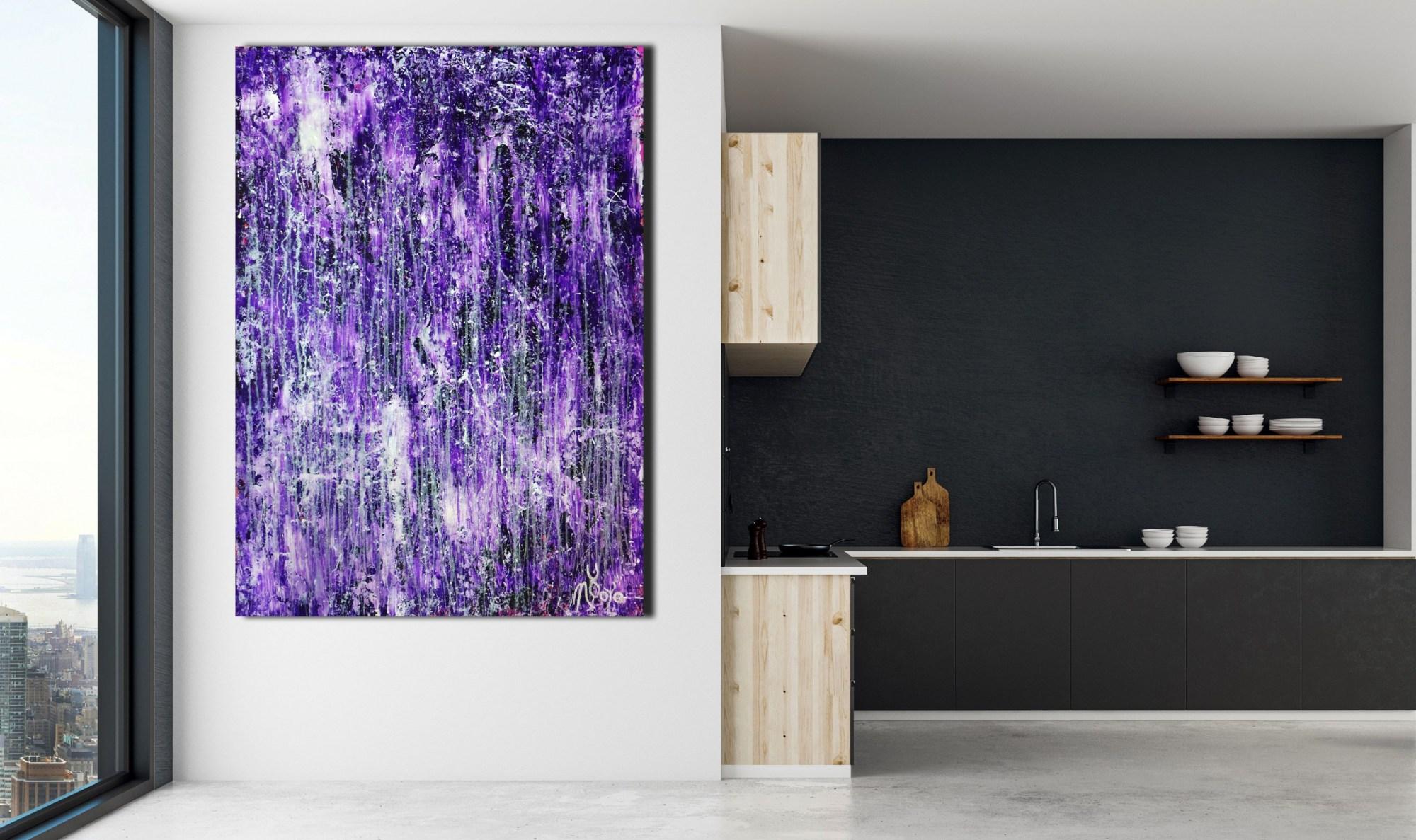 Room View - Rapid Iridescent Cascades (Purple) (2020) by Nestor Toro
