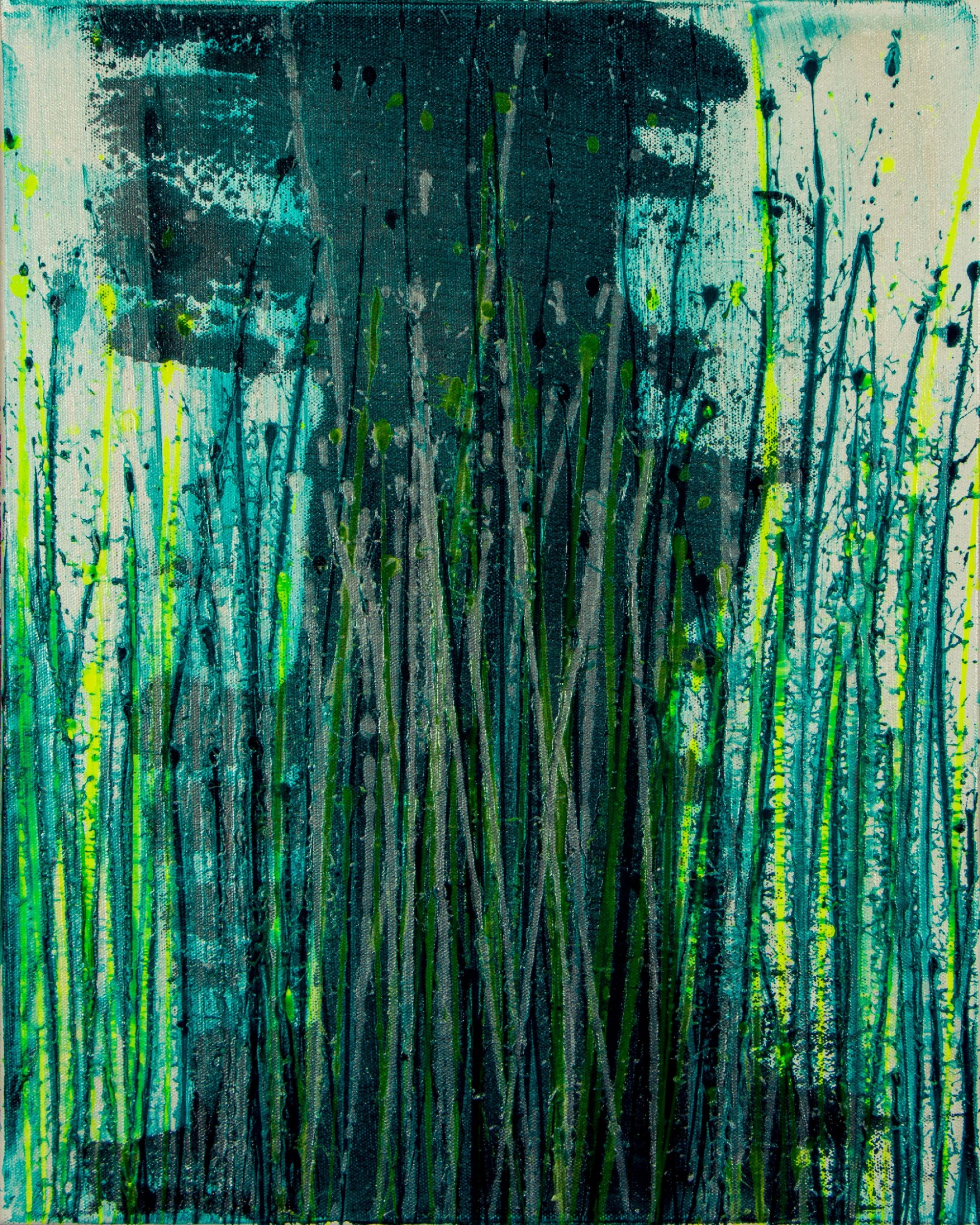 Canvas 2 - Vernal Garden (With Green and Silver) (2021) - Triptych