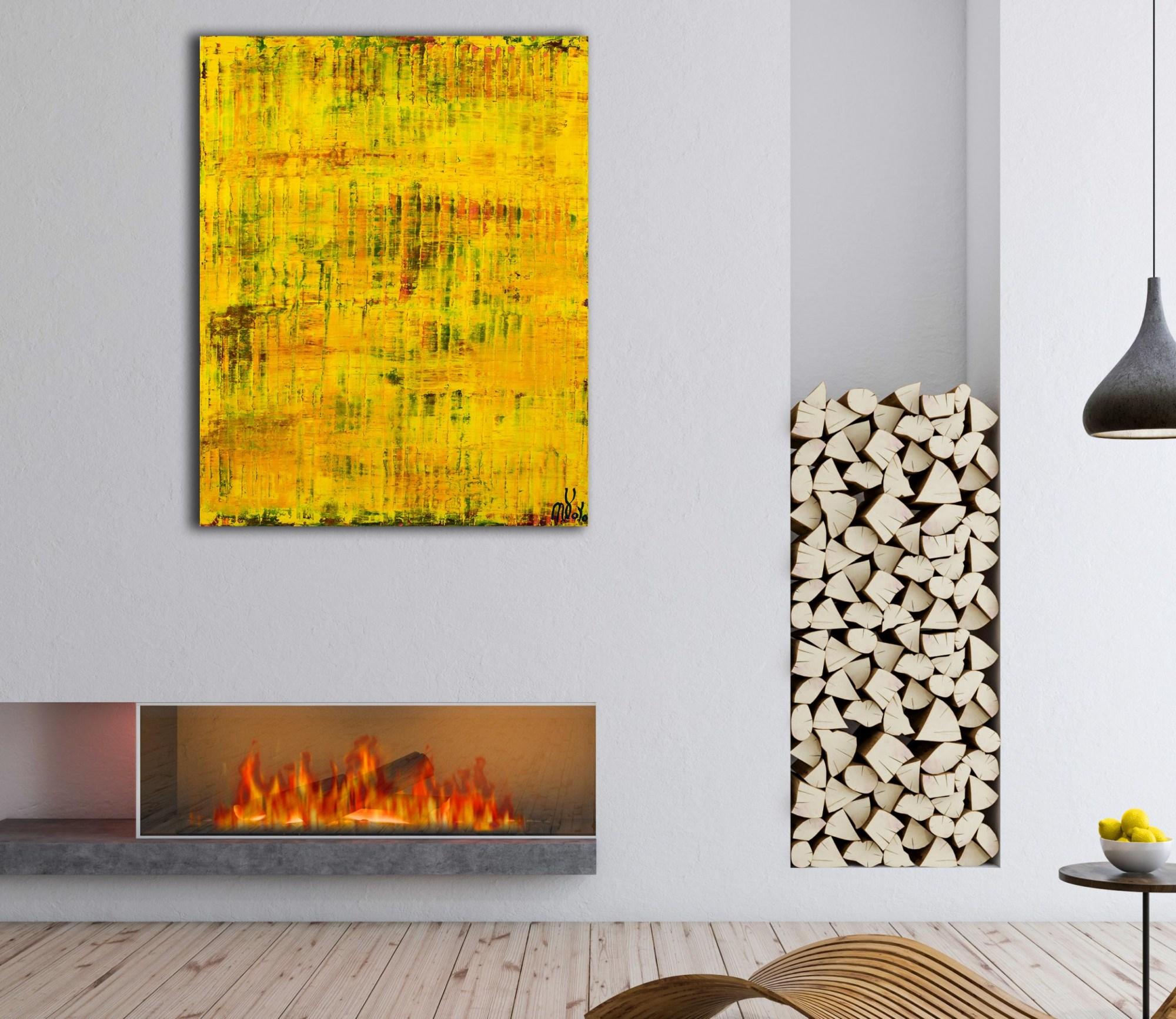 Room example / Yellow Reunion (Lost Lights) (2021) - 24x36 inches /Artist Nestor Toro