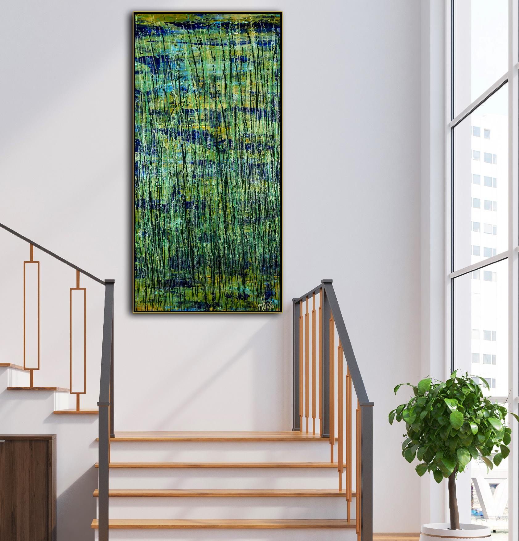 Room framed example - Green forest (Silver lights intrusions) (2021) by Nestor Toro