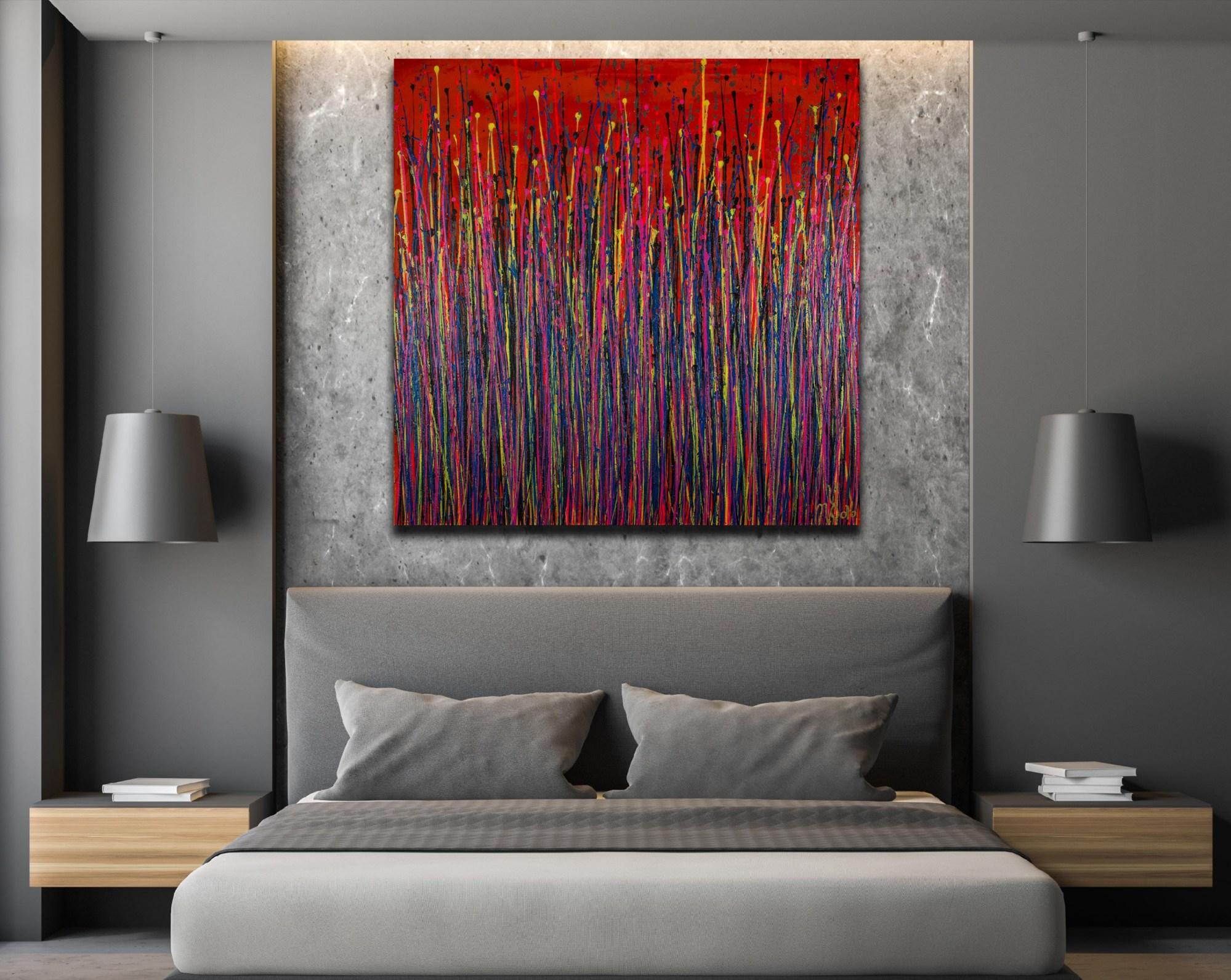 SOLD - Garden Rhythm (Over Red) 3 (2021) 36x36 inches by Nestor Toro