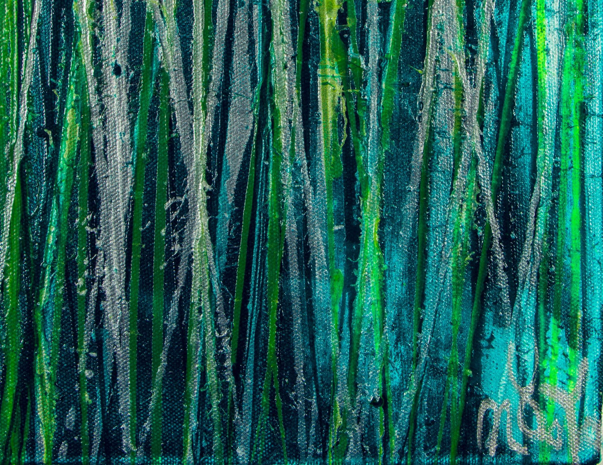 Signature - Vernal Garden (With Green and Silver) (2021) - Triptych