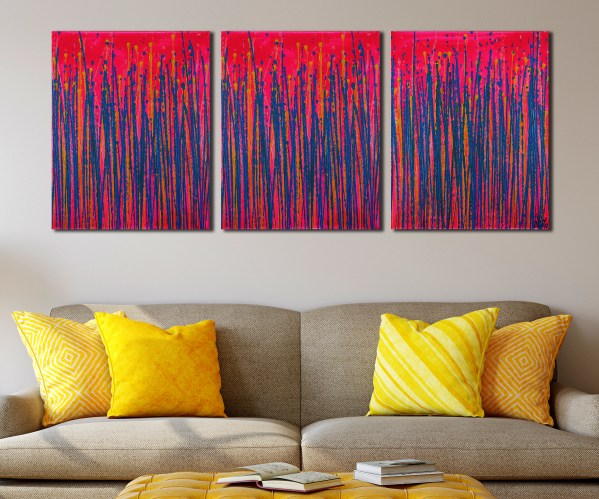 Drizzles Expressions (Over Neon) (2021) / Triptych by painter Nestor Toro