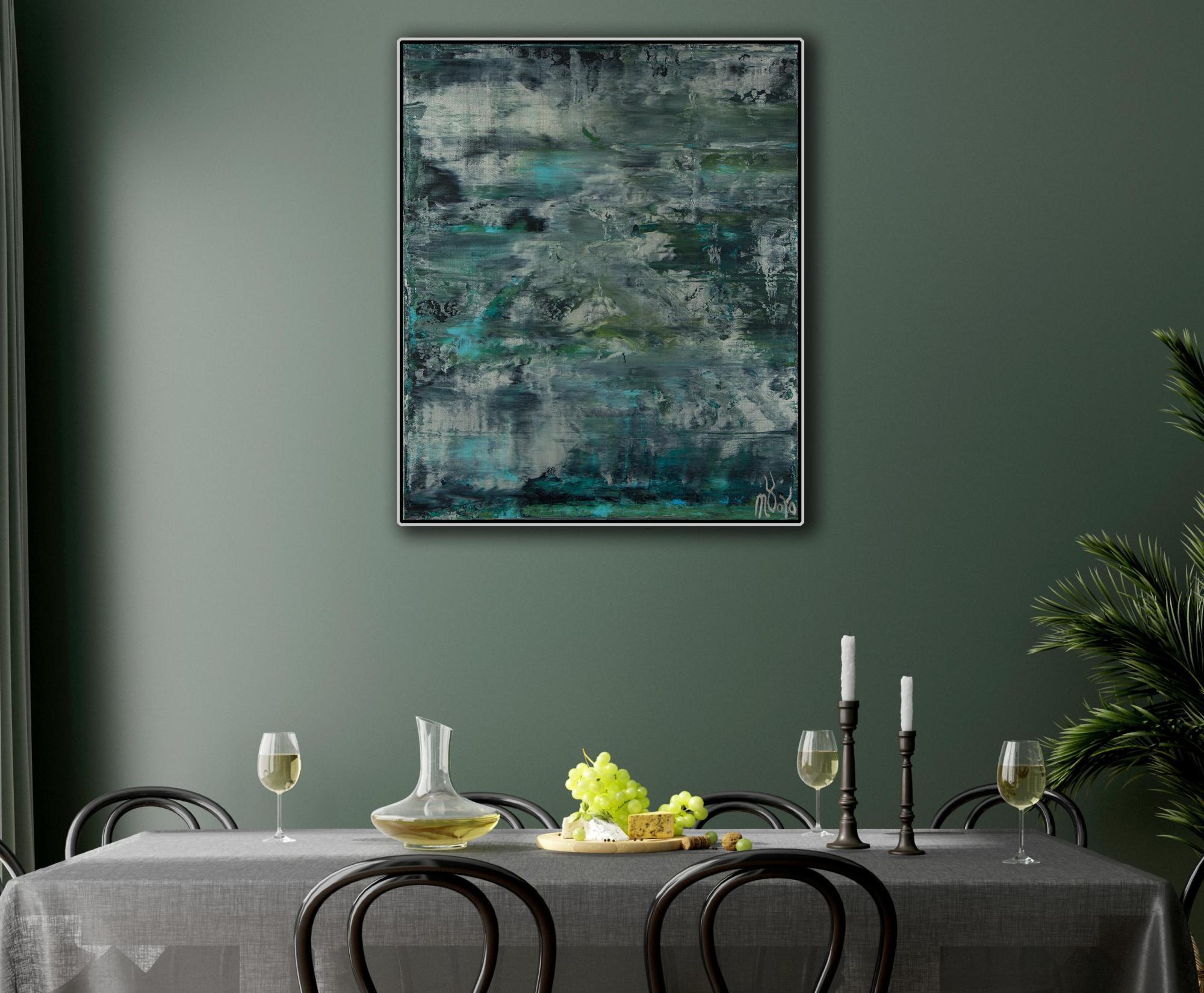 Room example (framed) / Waterflow (Night Clouds) / (2021) / Artist - Nestor Toro