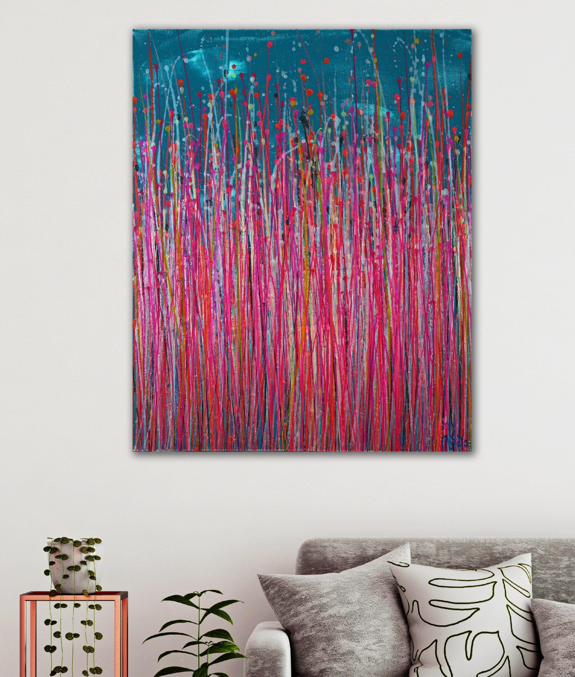 Room example / Pink Takeover (Over Silver Blue) 4 (2021) by Nestor Toro