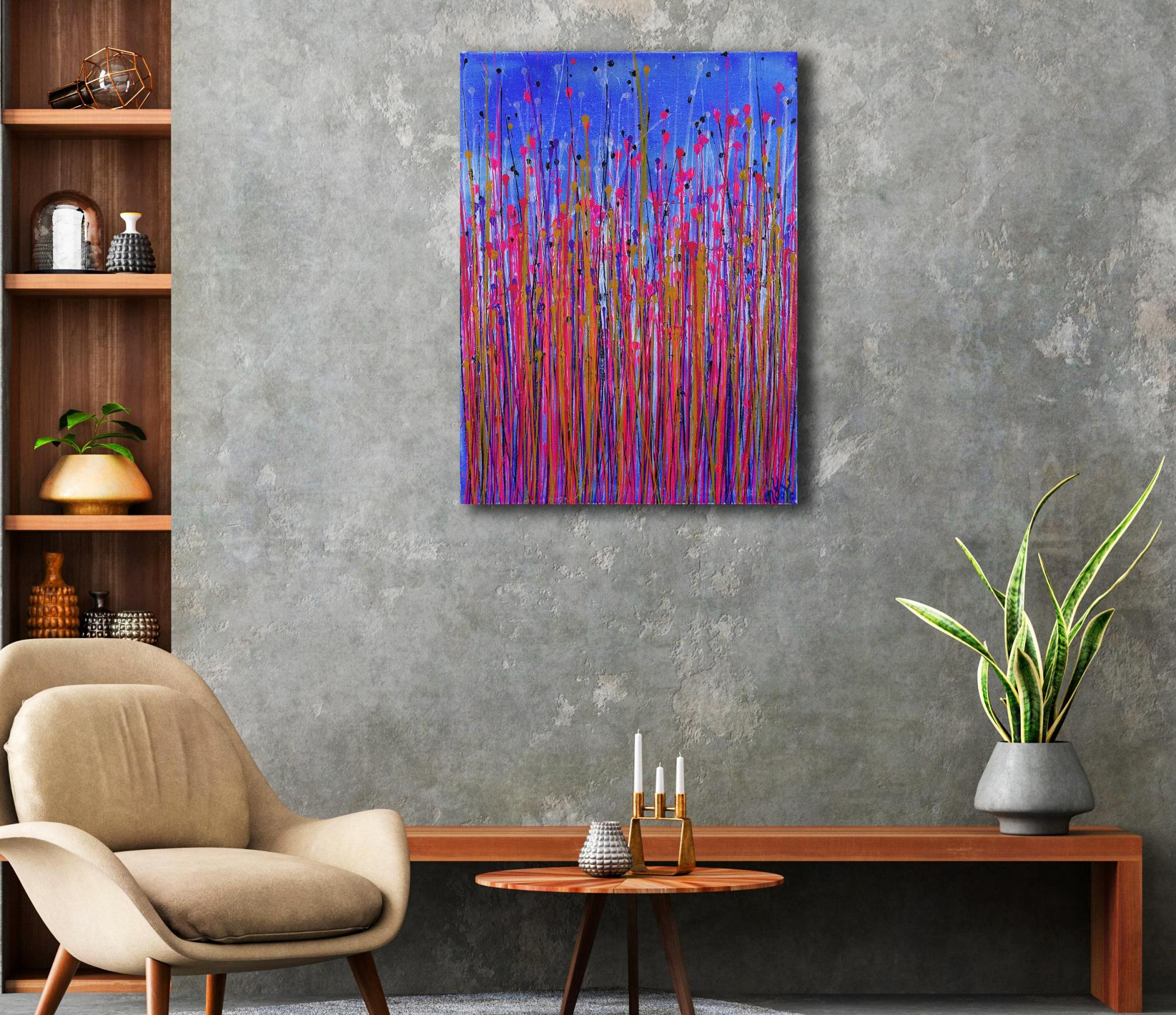Room example / Pink Takeover (Over Silver Blue) 2 (2021) / SOLD