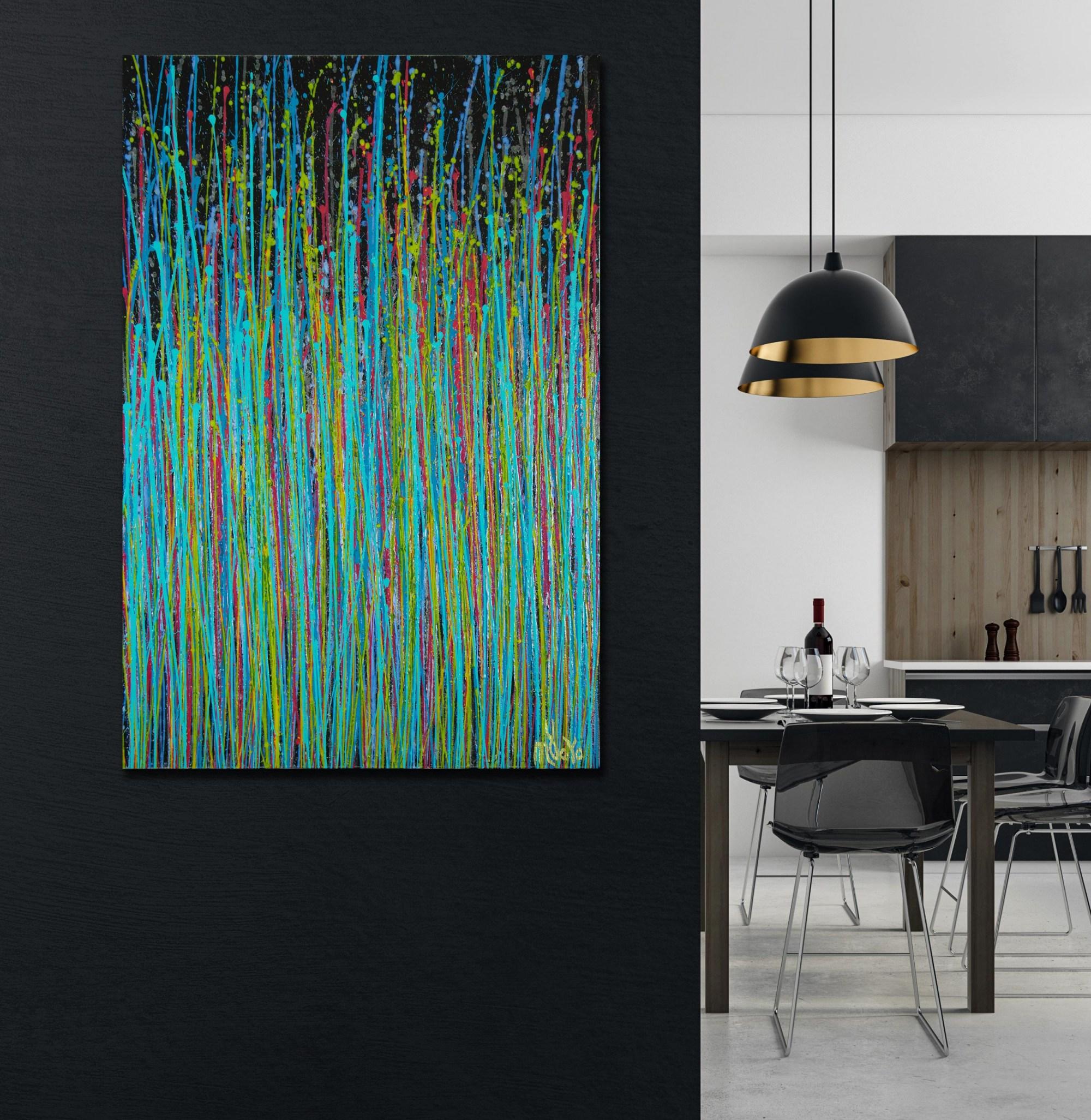 Room example / Blue Symphony (Natures Dance) 1 (2021) / 24X36 inches / Artist: Nestor Toro