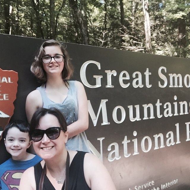 At the entrance to Great Smoky Mountains National Park