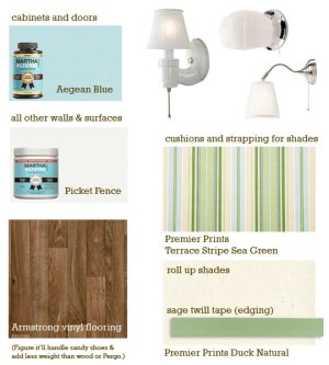 Picking out Martha Stewart Paint colors, lighting, flooring, and fabric for our vintage Shasta