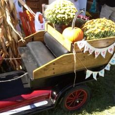 Cute mini vintage car loaded up for the fair