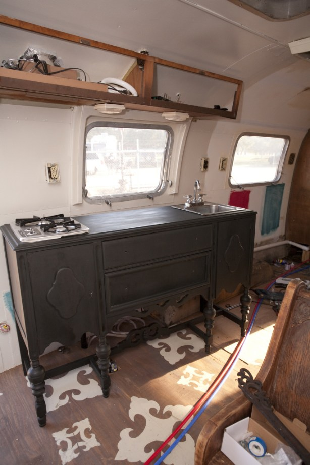 Junk Gypsies Dierks Bentley Airstream buffet turned kitchen