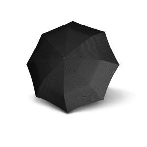 Moteriškas skėtis Doppler Carbonsteel Chic, taškuota juoda, išskleistas