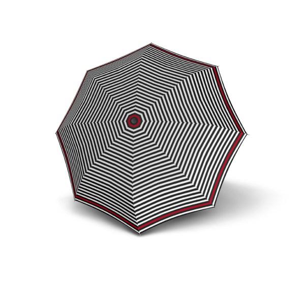 Moteriškas skėtis Derby Hit Triple, dryžuotas su raudona, išskleistas