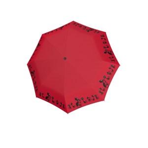 Raudonas moteriškas skėtis Doppler Fiber Cats, atidarytas