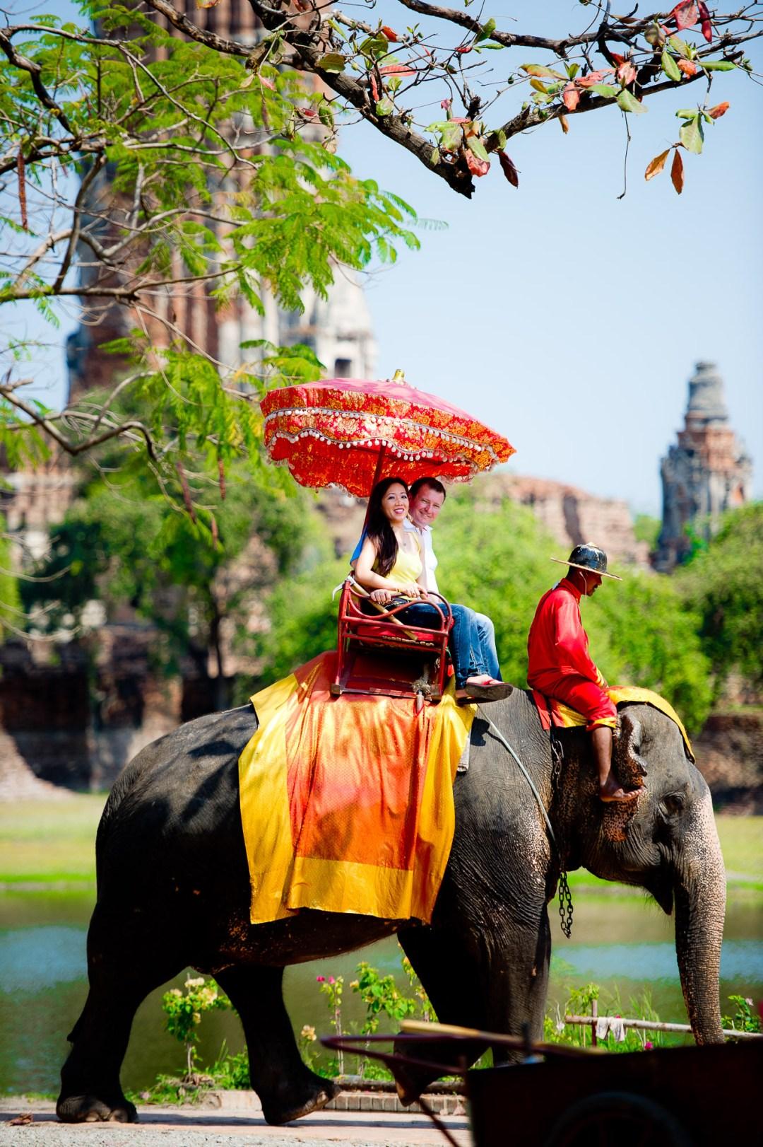 Ayutthaya Wedding Photography | Elephant Ride Pre-Wedding Photography