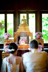 Traditional Thai wedding at Rose Garden Riverside (Sampran Riverside) in Nakhon Pathom (near Bangkok) in Thailand.