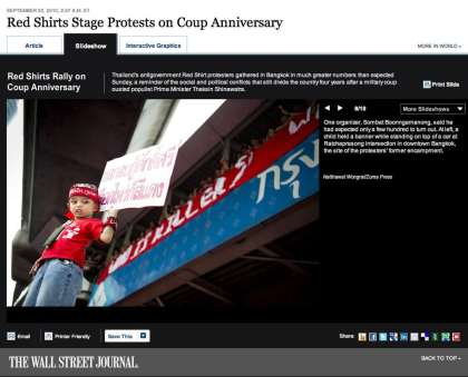 Screen capture of wsj.com (The Wall Street Journal) - 20 September 2010 - Red Shirts Stage Protests on Coup Anniversary.