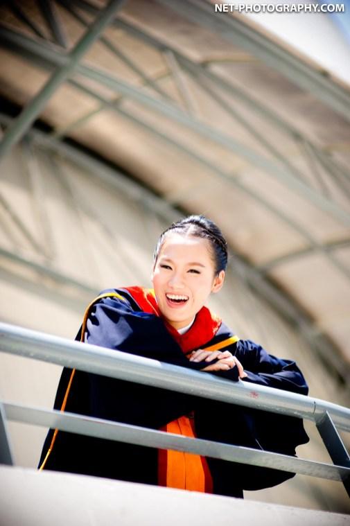 Graduation photo taken at Ramkhamhaeng University in Bangkok, Thailand.