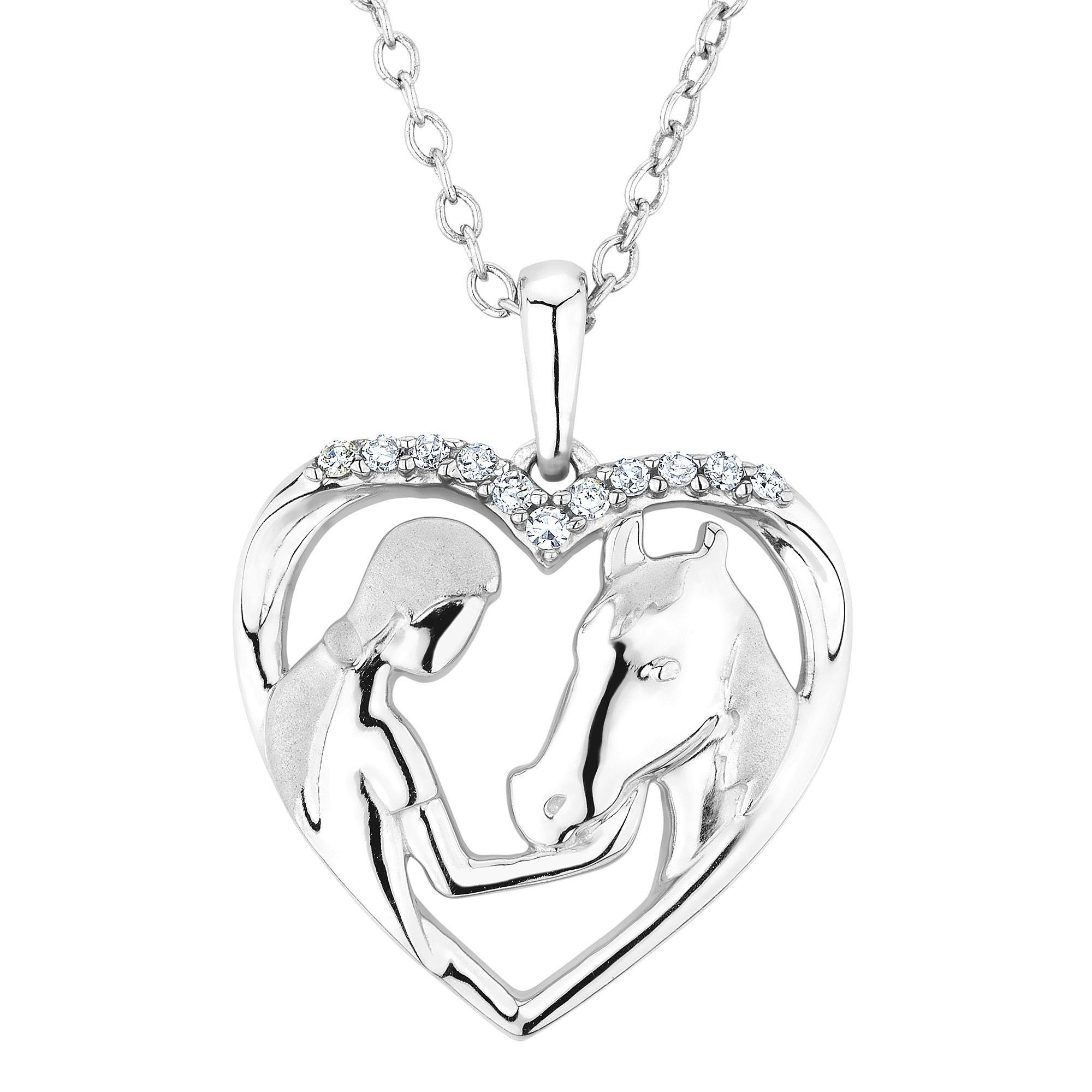 Aspca® tendervoices® lady and horse heart pendant 1 15ctw