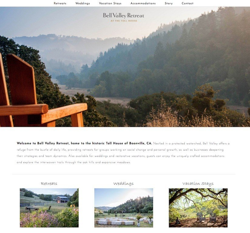 Bell Valley Retreat At The Toll House Website