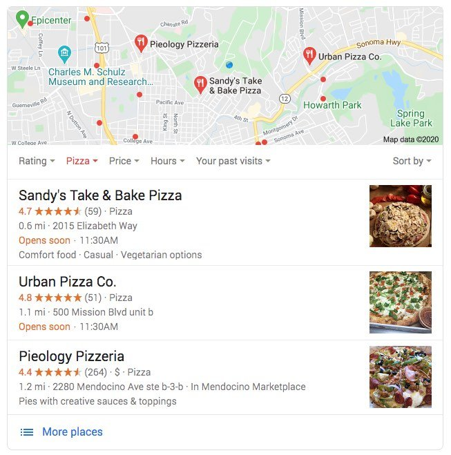 Local Search Results Screen Capture