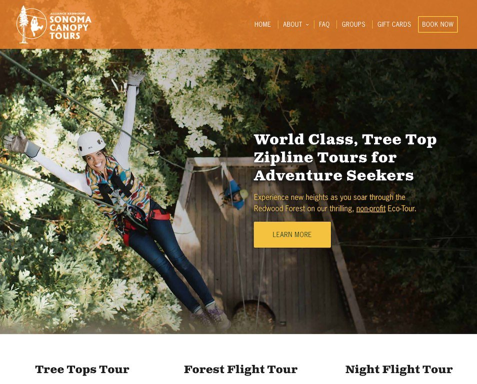Sonoma Canopy Tours Website