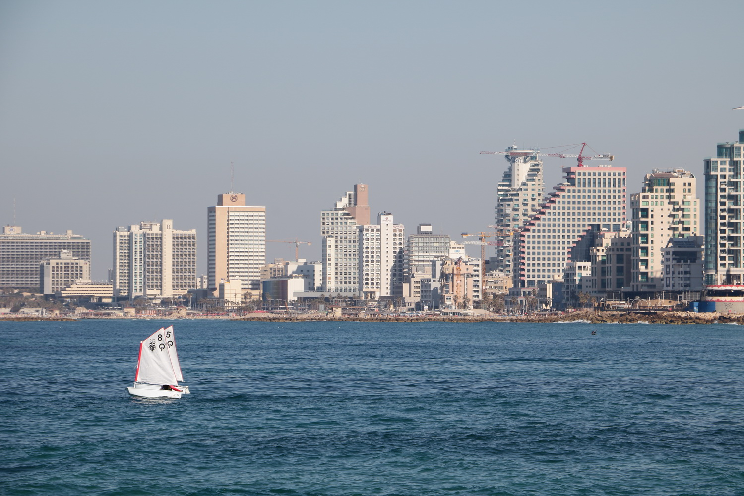 sailing boat and Tel Aviv