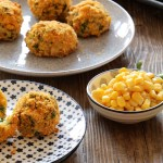 Crispy baked corn and rice balls