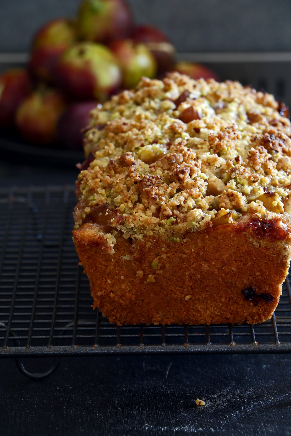 Amazing Fig Loaf Cake with Pistachio Streusel