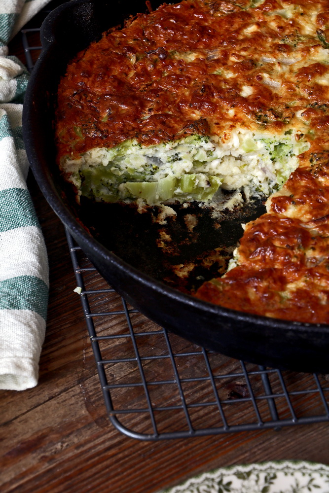 Broccoli and Feta Cheese Crustless Quiche