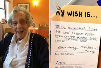 Âgée de 104 ans, elle demande à être arrêtée parce qu'elle n'a jamais commis de crime