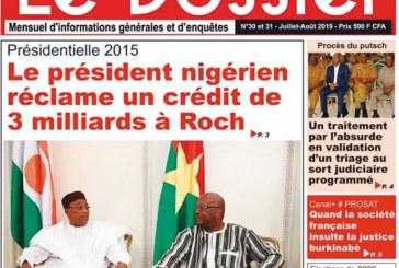 Médias: La Une du dernier numéro du journal Le Dossier