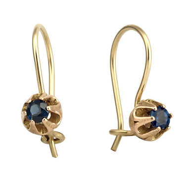 Victorian Belcher Set 14k Gold Sapphire Earrings