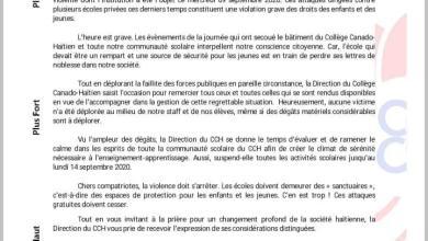 Photo of Haïti -Actualités: Le Collège Canado Haïtien suspend ses activités jusqu'au lundi 14 septembre