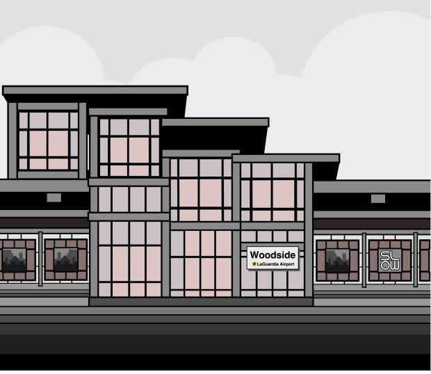 woodside train station, vector illustration