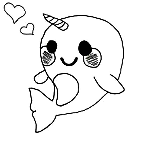 Cute Baby Narwhal Coloring Page Netart