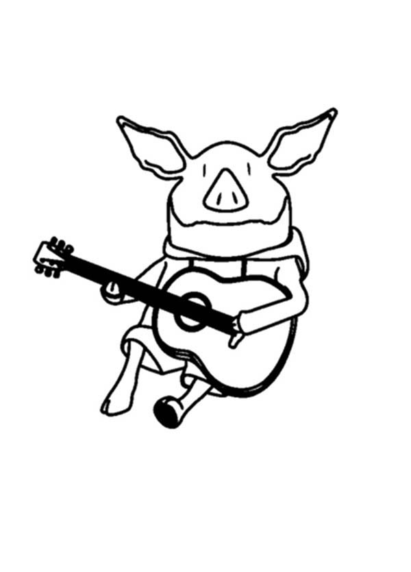 Olivia The Pig Playing Guitar Coloring Page NetArt