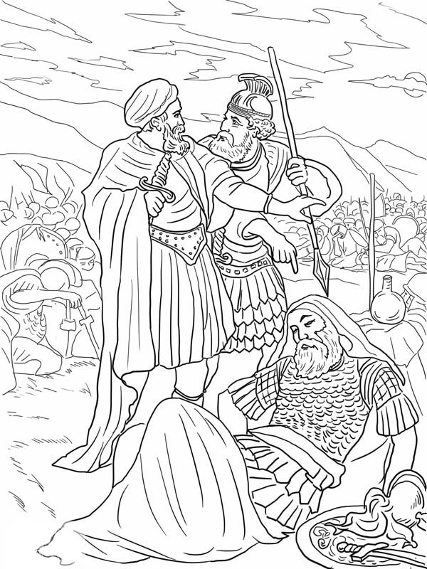 The Death Of King Saul Coloring Page NetArt