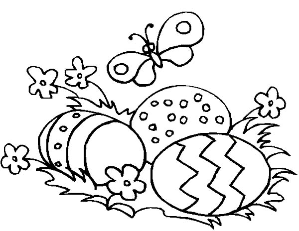 Easter Eggs And A Butterfly Coloring Page NetArt