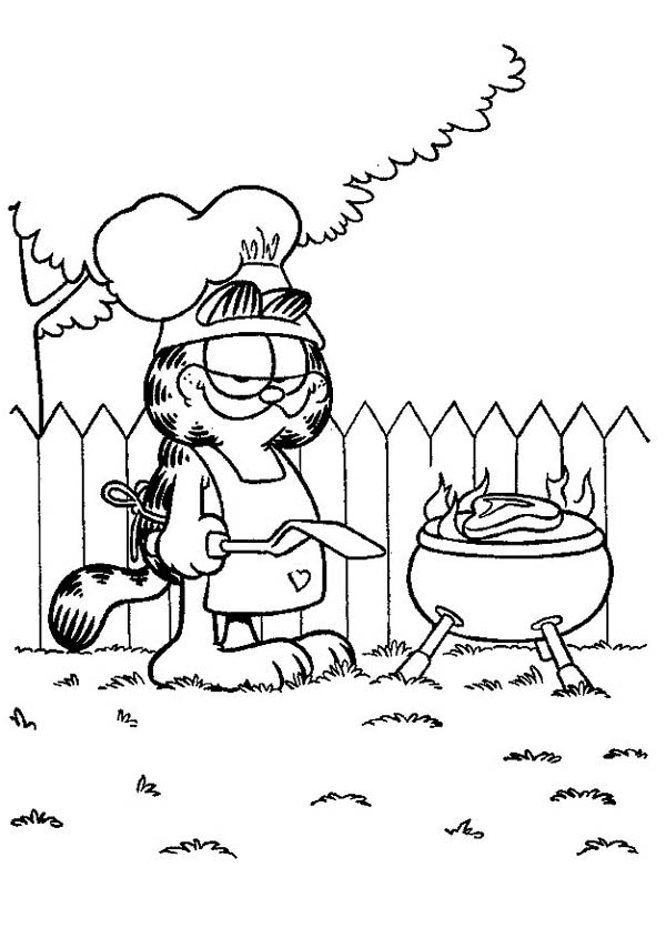 garfield cooking barbeque coloring page  netart