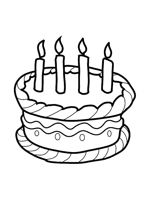 Four Candles On Birthday Cake Coloring Pages Netart